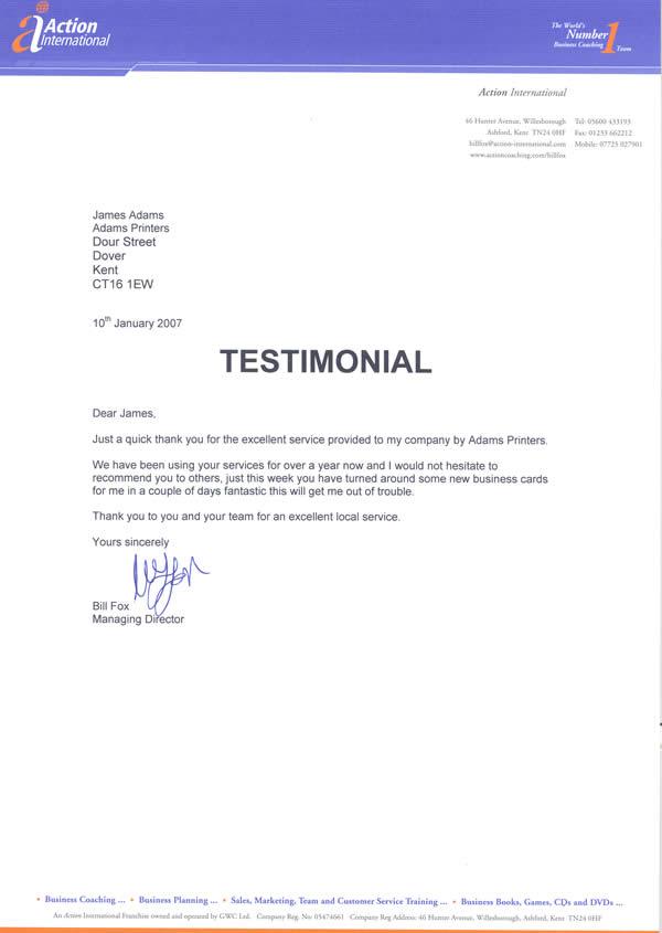 Customer testimonials adams printers testimonial from action international wajeb Image collections